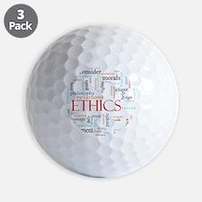 Ethics word concept illustration Golf Ball