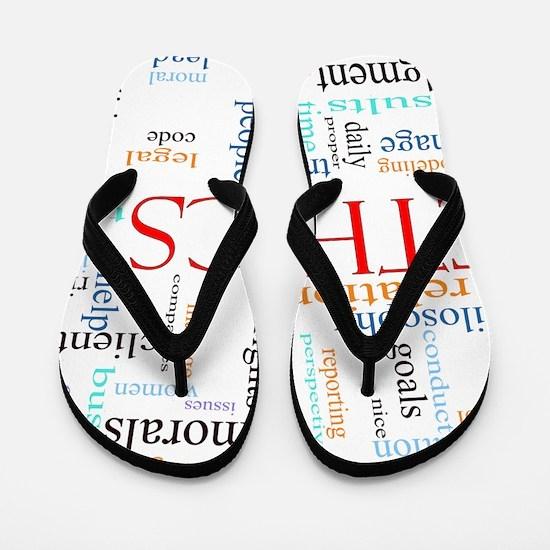 Ethics word concept illustration Flip Flops