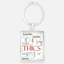 Ethics word concept illustration Portrait Keychain