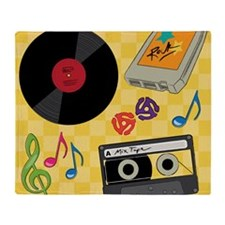 Retro Music Collection Throw Blanket