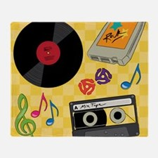 Retro Music Collection Throw Blanket