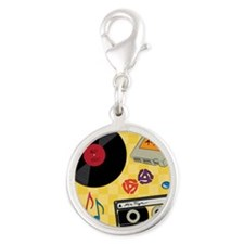 Retro Music Collection Silver Round Charm