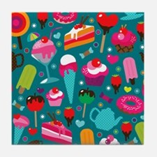Seamless cute cup cake candy and tea  Tile Coaster