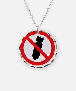 Stop Bombing Sign Necklace
