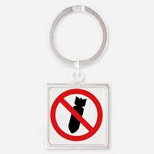 Stop Bombing Sign Square Keychain