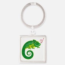 Chameleon with heart. Square Keychain