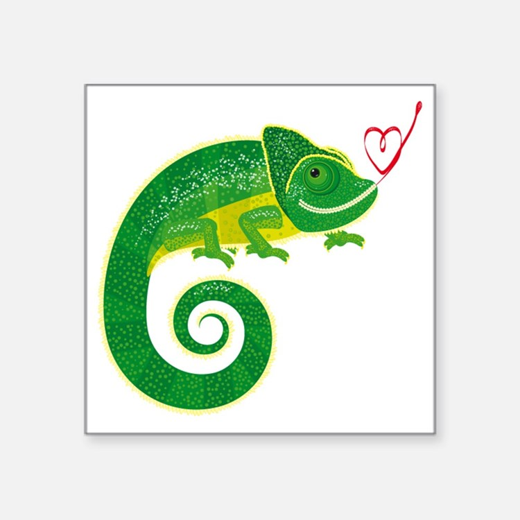 "Chameleon with heart. Square Sticker 3"" x 3"""