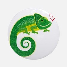 Chameleon with heart. Round Ornament