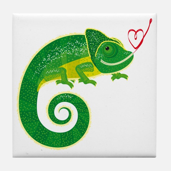 Chameleon with heart. Tile Coaster