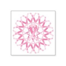 "Pink ribbon wreath Square Sticker 3"" x 3"""