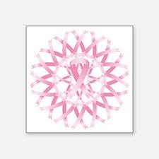 "Pink ribbon wreath Square Sticker 3"" x 3"""