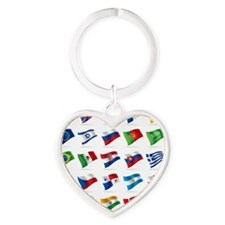 Vector set of world flags 1 Heart Keychain