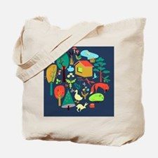 Eco-house in the forest and its inhabitan Tote Bag