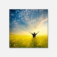 "man in yellow field Square Sticker 3"" x 3"""