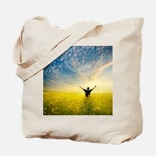 man in yellow field Tote Bag