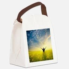 man in yellow field Canvas Lunch Bag