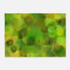Bright green and yellow canvas 5'x7'Area Rug