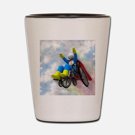 Wheelchair Superhero in Flight Shot Glass