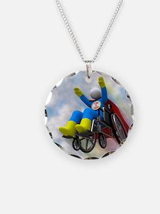 Wheelchair Superhero in Flig Necklace