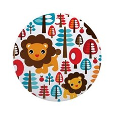 Cute Lion Pattern Round Ornament