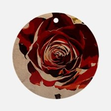 Grunge Rose Round Ornament
