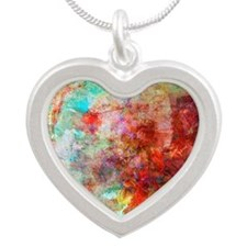 Abstract Painting In Mixed M Silver Heart Necklace