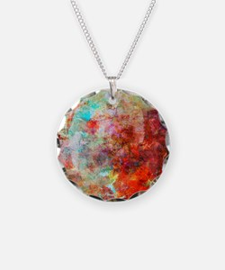 Abstract Painting In Mixed M Necklace