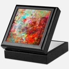 Abstract Painting In Mixed Media Styl Keepsake Box
