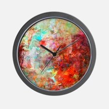 Abstract Painting In Mixed Media Style Wall Clock