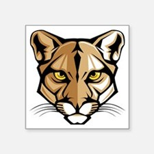 """Cougar Panther Mascot Head Square Sticker 3"""" x 3"""""""