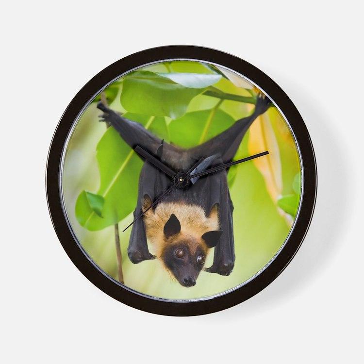 Fruit Bat Hanging In A Tree Wall Clock