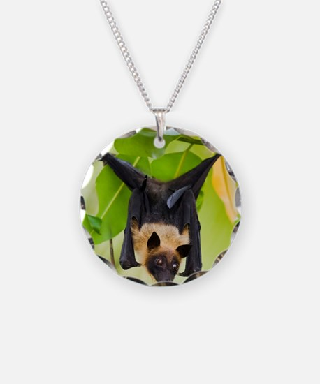 Fruit Bat Hanging In A Tree Necklace