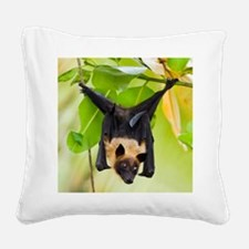 Fruit Bat Hanging In A Tree Square Canvas Pillow