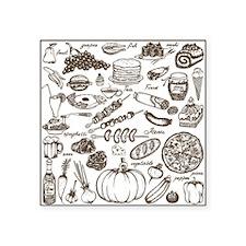 "Doodle food Square Sticker 3"" x 3"""