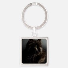 Little Black Cat Square Keychain