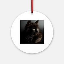 Little Black Cat Round Ornament