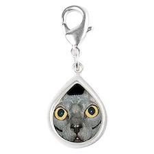Sphynx Cat Silver Teardrop Charm