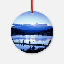 Mountain sunset/moonset Round Ornament