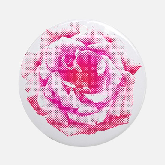 Halftone Rose Round Ornament