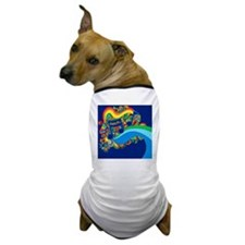 Psychedelic Groovy Music Notes Illustr Dog T-Shirt