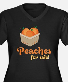 Peaches For  Women's Plus Size Dark V-Neck T-Shirt