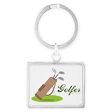 Golfer in Training Landscape Keychain