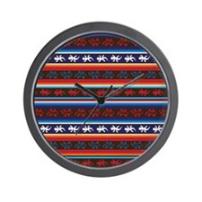 Seamless Mexican lizard fabric pattern Wall Clock