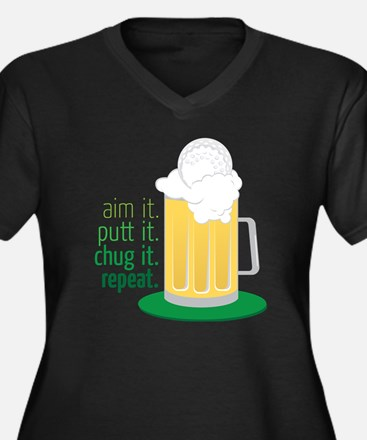 Chug It Women's Plus Size Dark V-Neck T-Shirt