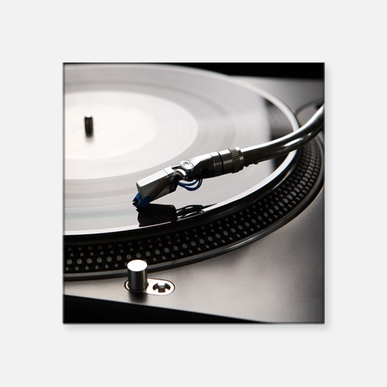 "Macro shot of vinyl player  Square Sticker 3"" x 3"""