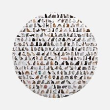 Large group of 471 cats breeds in f Round Ornament