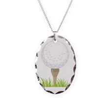 Golf Tee Necklace Oval Charm