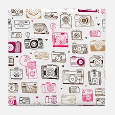 Photo camera pattern Tile Coaster
