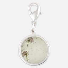 Vintage Floral Silver Round Charm