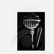 Harmonica and Vintage Microphone Greeting Card